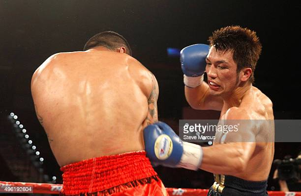 Ryota Murata lands a body shot on Gunnar Jackson during their middleweight fight at the Thomas Mack Center on November 7 2015 in Las Vegas Nevada