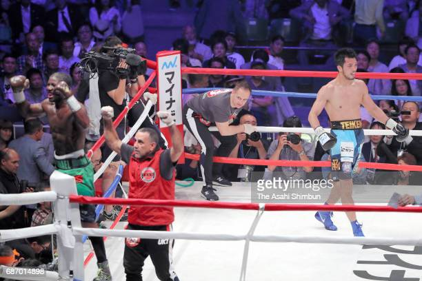 Ryota Murata of Japan and Hassan N'Dam N'Jikam of France react after the WBA World Middleweight title bout at Ariake Colosseum on May 20 2017 in...