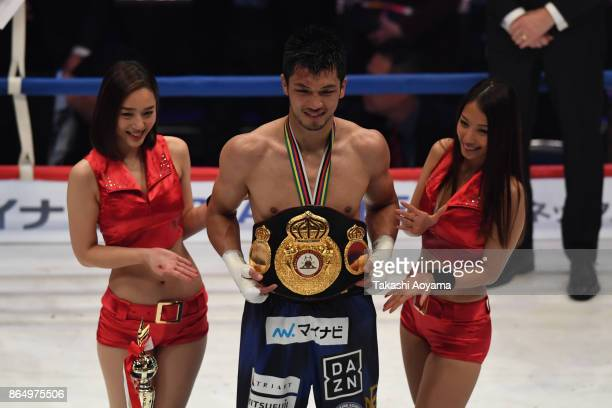 Ryota Murata of Japan celebrates after winning his WBA Middleweight Title Bout at Ryogoku Kokugikan on October 22 2017 in Tokyo Japan