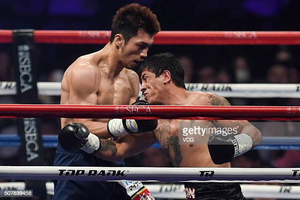 Ryota Murata of Japan competes against Gaston Alejandro Vega of Argentina in the Boxing Middleweight Bout of 'The Return Of The King' Boxing Show at...