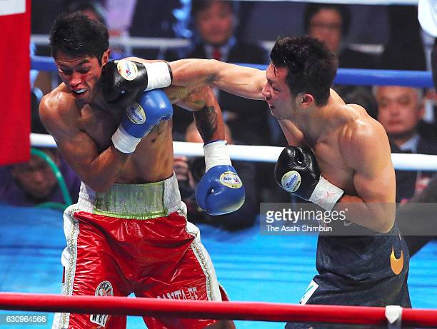 Ryota Murata of Japan connects his right on Bruno Sandoval of Mexico during their bout at Ariake Coliseum on December 30 2016 in Tokyo Japan