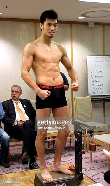 Ryota Murata of Japan poses during the weighin of their Middleweight eight rounds match at Ryogoku Kokugikan on December 5 2013 in Tokyo Japan