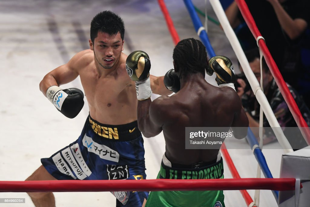 Ryota Murata of Japan (L) punches Hassan N'Dam N'Jikam of France (R) during their WBA Middleweight Title Bout at Ryogoku Kokugikan on October 22, 2017 in Tokyo, Japan.