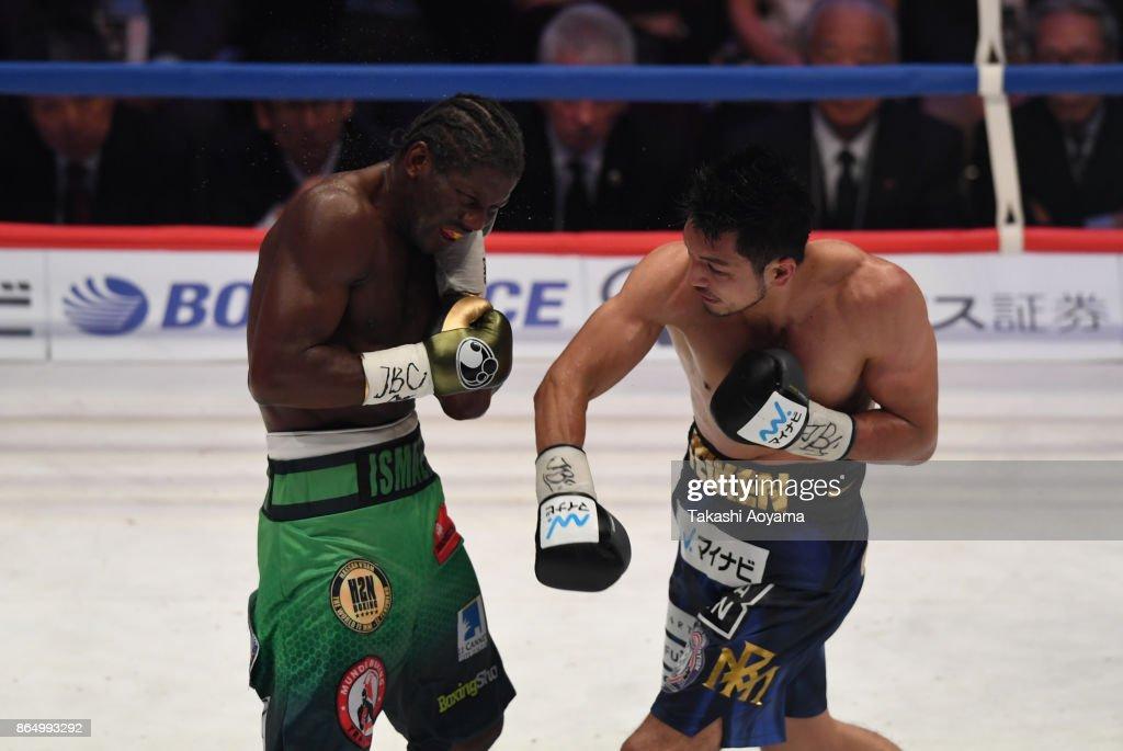 Ryota Murata of Japan (R) punches Hassan N'Dam N'Jikam of France (L) during their WBA Middleweight Title Bout at Ryogoku Kokugikan on October 22, 2017 in Tokyo, Japan.