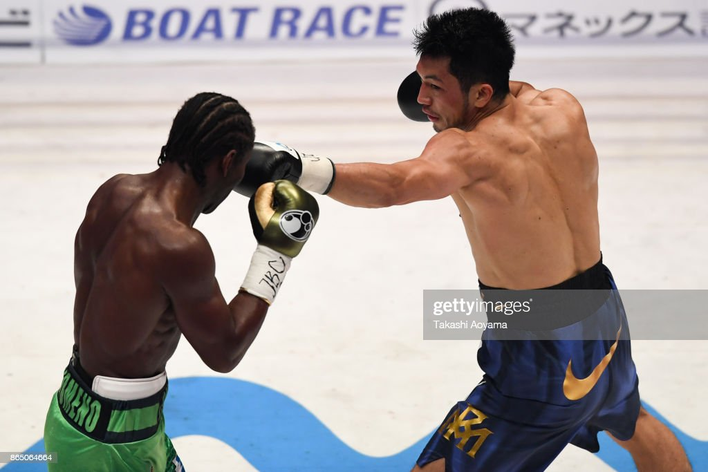 Ryota Murata of Japan (R) punches Hassan N'Dam N'Jikam of France (L) during their WBA Middleweight Title Bout at Ryogoku Kokugikan on October 22, 2017 in Tokyo, Japan. (Photo by Takashi Aoyama/Getty Images) on October 22, 2017 in Tokyo, Japan.