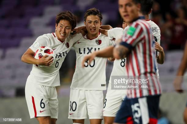 Ryota Nagaki of Kashima Antlers celebrates after scoring a goal to make it 11 during the FIFA Club World Cup UAE 2018 match between Kashima Antlers...