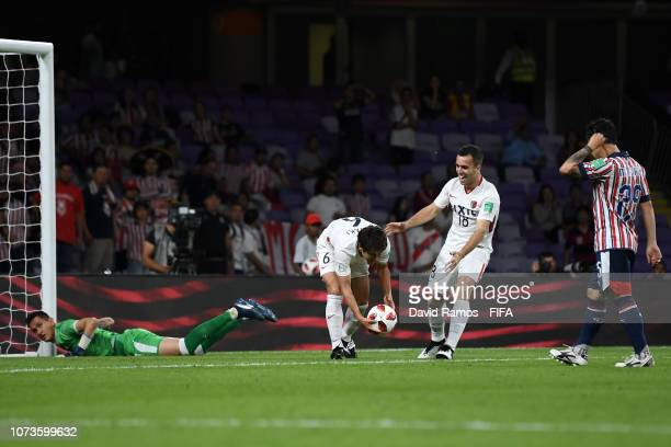 Ryota Nagaki of Kashima Antlers celebrates after scoring his team's first goal during the FIFA Club World Cup UAE 2018 Second round match between...