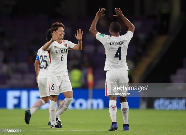 Ryota Nagaki of Kashima Antlers celebrates after scoring his team's first goal with Hugo Leonardo of Kashima Antlers during the FIFA Club World Cup...