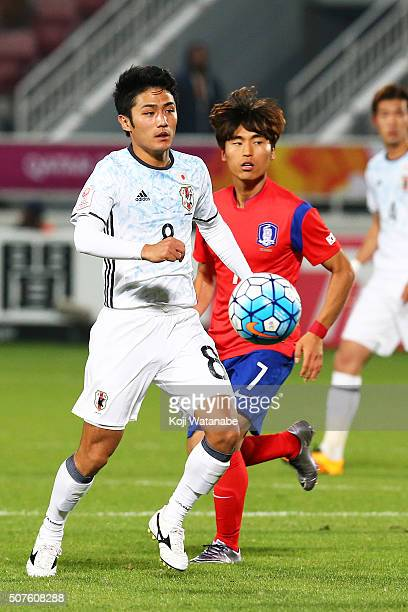 Ryota Ohshima in action during the AFC U23 Championship final match between South Korea and Japan at the Abdullah Bin Khalifa Stadium on January 30...