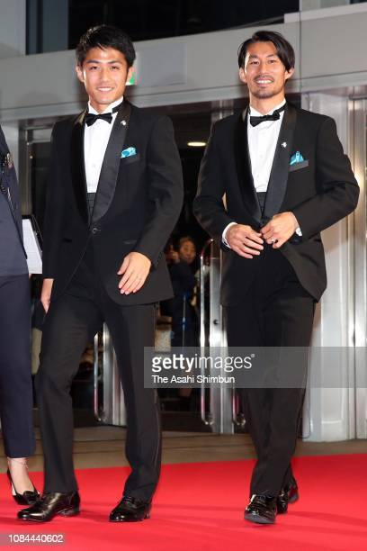 Ryota Oshima and Akihiro Ienaga of Kawasaki Frontale attend the JLeague Awards at the Yokohama Arena on December 18 2018 in Yokohama Kanagawa Japan