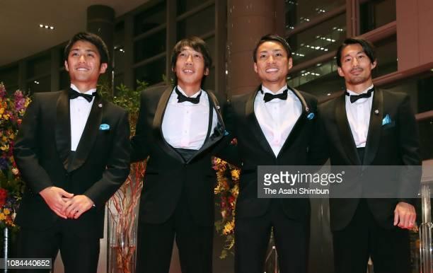Ryota Oshima Kengo Nakamura Yu Kobayashi and Akihiro Ienaga of Kawasaki Frontale attend the JLeague Awards at the Yokohama Arena on December 18 2018...