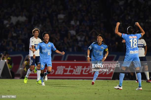 Ryota Oshima of Kawasaki Frontale celebrates scoring the opening goal during the JLeague J1 match between Kawasaki Frontale and Yokohama FMarinos at...