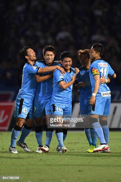 Ryota Oshima of Kawasaki Frontale celebrates scoring the opening goal with his team mates during the JLeague J1 match between Kawasaki Frontale and...
