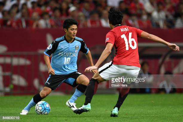 Ryota Oshima of Kawasaki Frontale controls the ball during the AFC Champions League quarter final second leg match between Urawa Red Diamonds and...