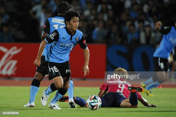 Ryota Oshima of Kawasaki Frontale in action during the JLeague Yamazaki Nabisco Cup Quarter Final second leg match between Kawasaki Frontale and...