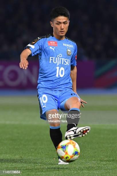 Ryota Oshima of Kawasaki Frontale in action during the JLeague J1 match between Kawasaki Frontale and Shonan Bellmare at Todoroki Stadium on April 19...