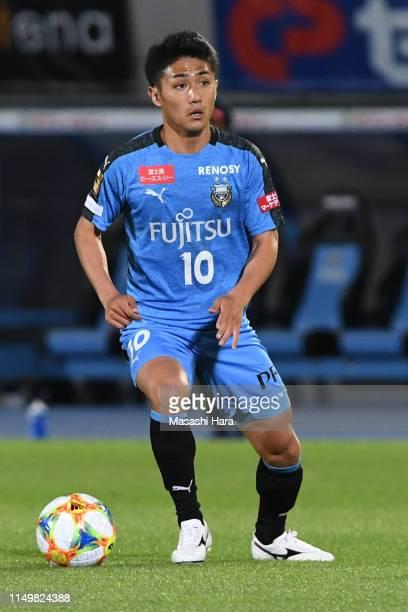 Ryota Oshima of Kawasaki Frontale in action during the JLeague J1 match between Kawasaki Frontale and Nagoya Grampus at Todoroki Stadium on May 17...