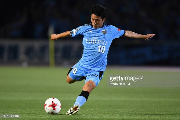 Ryota Oshima of Kawasaki Frontale in action during the JLeague J1 match between Kawasaki Frontale and Sanfrecce Hiroshima at Todoroki Stadium on June...