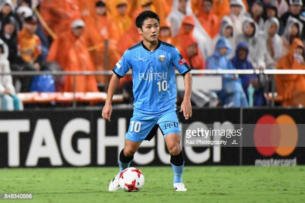 Ryota Oshima of Kawasaki Frontale in action during the JLeague J1 match between Shimizu SPulse and Kawasaki Frontale at IAI Stadium Nihondaira on...
