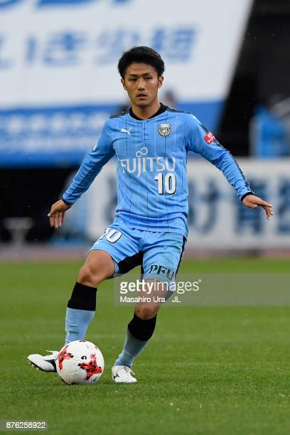 Ryota Oshima of Kawasaki Frontale in action during the JLeague J1 match between Kawasaki Frontale and Gamba Osaka at Todoroki Stadium on November 18...
