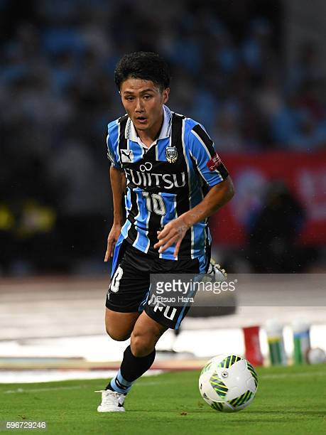 Ryota Oshima of Kawasaki Frontale in action during the JLeague match between Kawasaki Frontale and Kashiwa Reysol at the Todoroki Stadium on August...