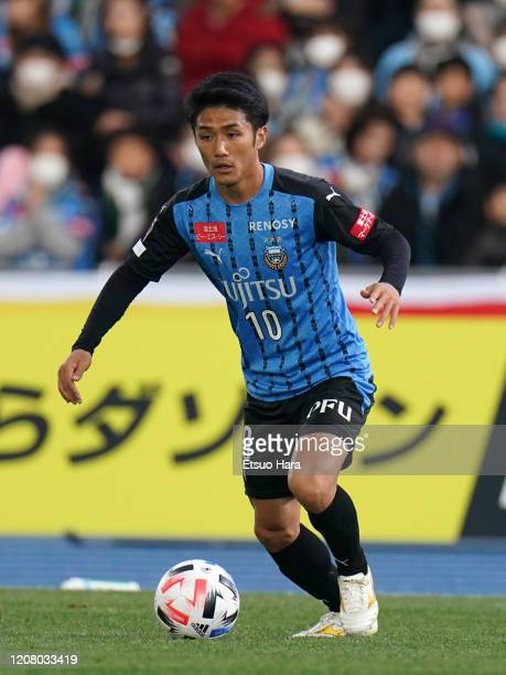 Ryota Oshima of Kawasaki Frontale in action during the JLeague MEIJI YASUDA J1 match between Kawasaki Frontale and Sagan Tosu at Todoroki Stadium on...