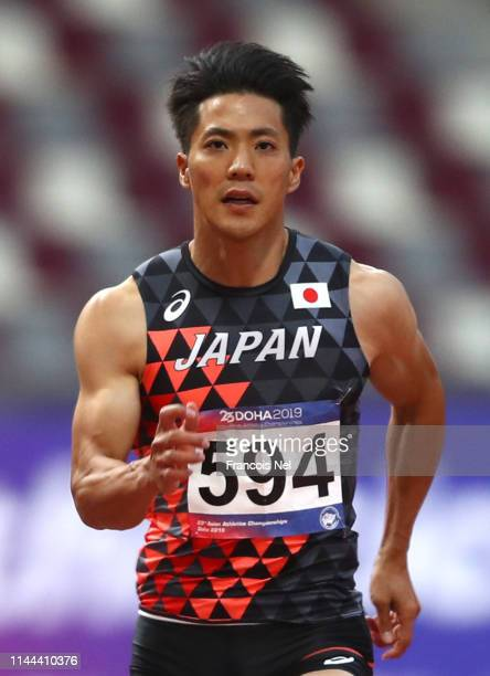 Ryota Yamagat of Japan competes in the men's 100m semifinal during day two of the 23rd Asian Athletics Championships at Khalifa International Stadium...