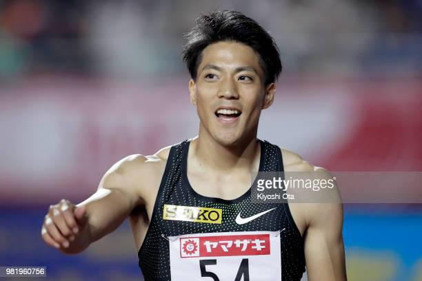 Ryota Yamagata celebrates after winning the Men's 100m final on day two of the 102nd JAAF Athletic Championships at Ishin MeLife Stadium on June 23...