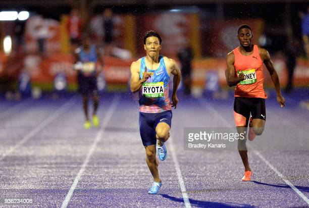 Ryota Yamagata of Japan competes in the Men's 100m final during the Summer of Athletics Grand Prix at QSAC on March 22 2018 in Brisbane Australia