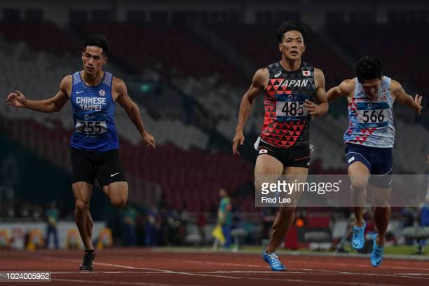 Ryota Yamagata of Japan in action the Semifinal of the men's 100m athletics event during on day eight of the Asian Games on August 26 2018 in Jakarta...