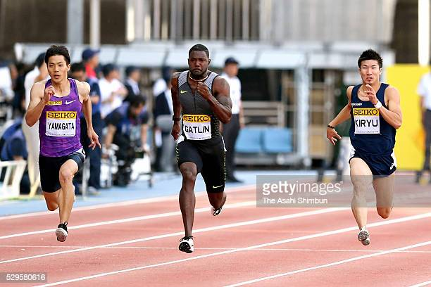 Ryota Yamagata of Japan Justin Gatlin of the United States and Yoshihide Kiryu of Japan compete in the Men's 100m during the SEIKO Golden Grand Prix...