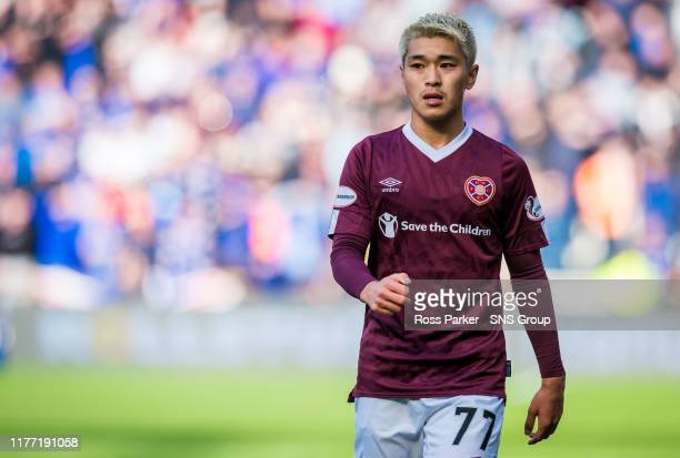 Ryotaro Meshino in action for Hearts during the Ladbrokes Premiership match between Heart of Midlothian and Rangers at Tynecastle Park on October 20...