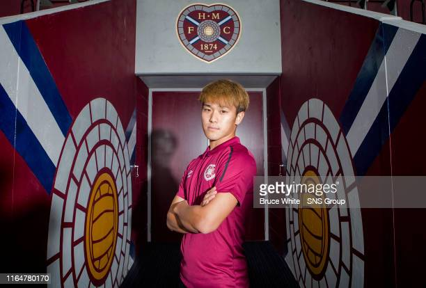 Ryotaro Meshino is pictured during a Hearts media access at Tyncastle Park on August 30, 2019 in Glasgow, Scotland.