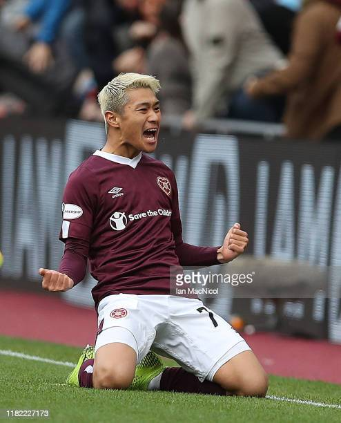 Ryotaro Meshino of Heart of Midlothian celebrates after he scores the opening goal during the Ladbrokes Premiership match between Hearts and Rangers...