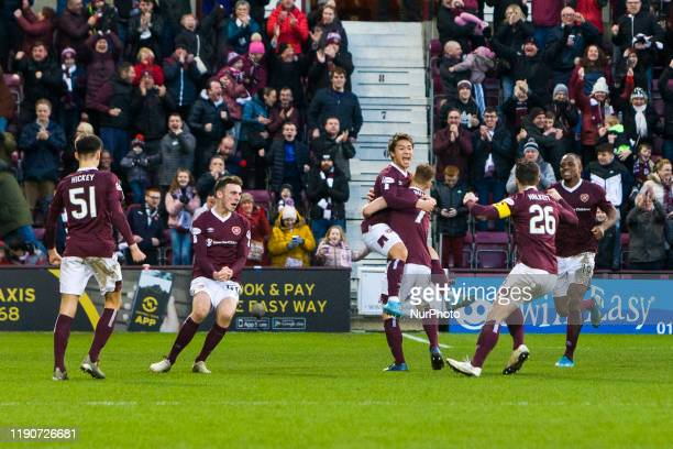 Ryotaro Meshino of Hearts celebrates scoring his team's first goal during the Scottish Premier League match between Hearts and Aberdeen at Tynecastle...