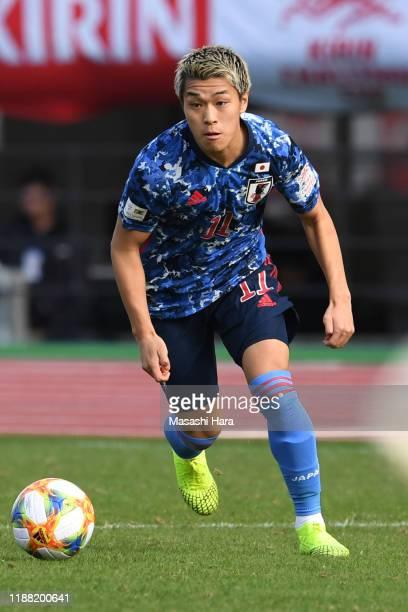 Ryotaro Meshino of Japan in action during the U-22 international friendly match between Japan and Colombia at Edion Stadium Hiroshima on November 17,...