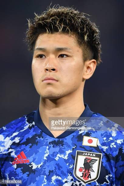 Ryotaro Meshino of Japan prior to the AFC U-23 Championship match between Syria and Japan at Thammasat Stadium on January 12, 2020 in Pathum Thani,...