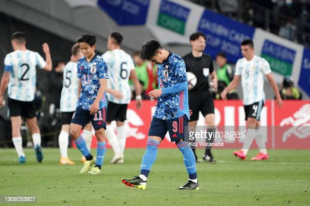 Ryotaro Meshino of Japan shows dejection after his side's 0-1 defeat in the U-24 international friendly match between Japan and Argentina at the...