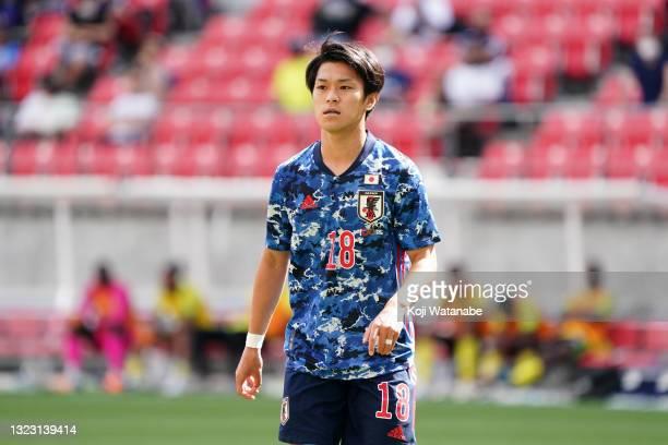 Ryotaro Meshino of Japan U-24 is seen during the international friendly match between Japan U-24 and Jamaica at the Toyota Stadium on June 12, 2021...