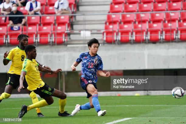 Ryotaro Meshino of Japan U-24 shoots at goal during the third round of the Ai Miyazato Suntory Ladies Open at Rokko Kokusai Golf Club on June 12,...