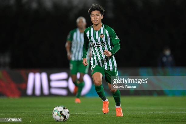 Ryotaro Meshino of Rio Ave in action during the Liga NOS match between Rio Ave FC and Vitoria Guimaraes SC at Estadio do Rio Ave on September 27,...