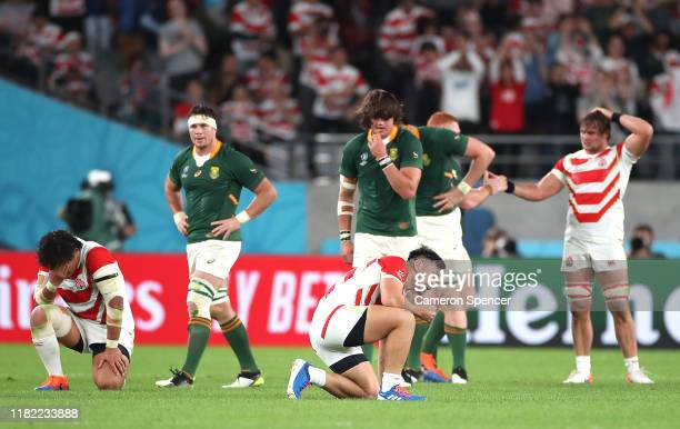 Ryoto Nakamura of Japan reacts following defeat in the Rugby World Cup 2019 Quarter Final match between Japan and South Africa at the Tokyo Stadium...