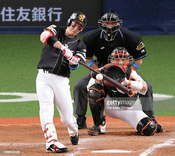 Ryoya Kurihara of the Fukuoka SoftBank Hawks hits a double in the 4th inning during the game one of the Japan Series at Kyocera Dome Osaka on...