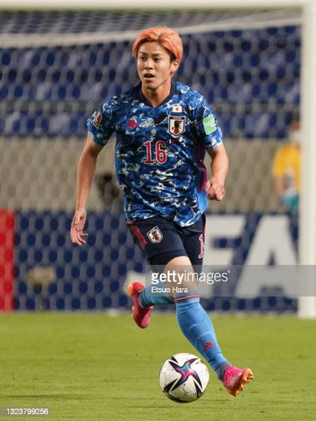 Ryoya Ogawa of Japan in action during the FIFA World Cup Asian Qualifier 2nd round Group F match between Japan and Kyrgyz at Panasonic Stadium Suita...