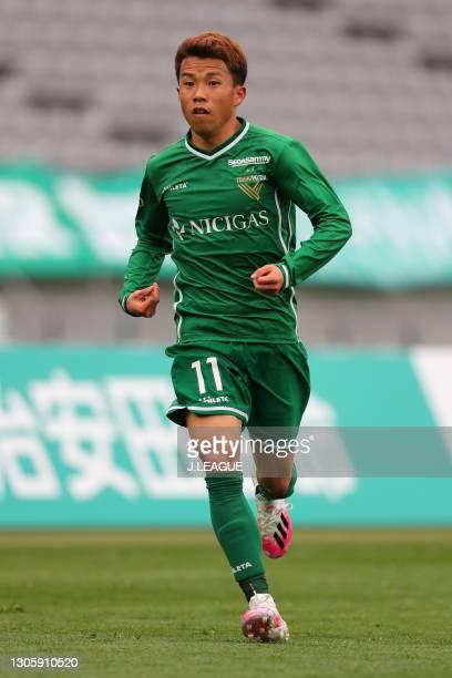 Ryoya YAMASHITA of Tokyo Verdy in action during the J.League Meiji Yasuda J2 match between Tokyo Verdy and Montedio Yamagata at Ajinomoto Stadium on...