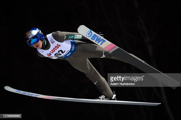 Ryoyu Kobayashi from Japan soars in the air during Men's HS134 qualifying for the FIS Ski Jumping World Cup Wisla on November 20, 2020 in Wisla,...