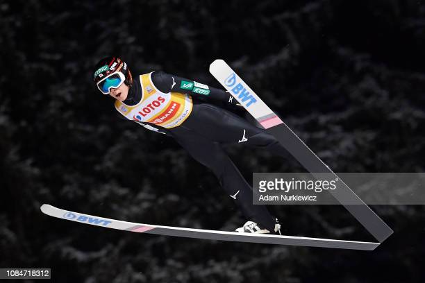 Ryoyu Kobayashi from Japan soars in the air during qualification round on January 18 2019 in Zakopane Poland