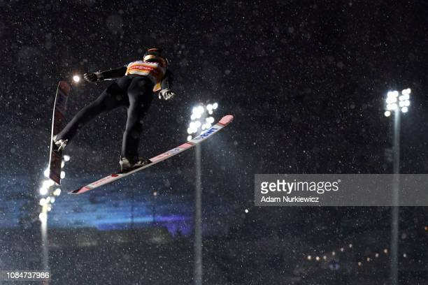 Ryoyu Kobayashi from Japan soars in the air during training session of FIS Ski Jumping World Cup 2019 on January 18 2019 in Zakopane Poland