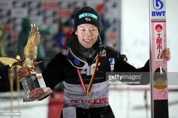Ryoyu Kobayashi of Japan celebrates after winning the FIS Nordic World Cup Four Hills Tournament at PaulAusserleitner Jumping Hill on January 6 2019...