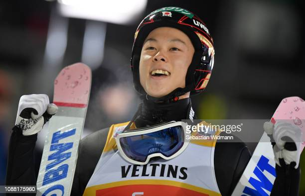 Ryoyu Kobayashi of Japan celebrates during the Final Round on day 2 of the 67th FIS Nordic World Cup Four Hills Tournament ski jumping event on...